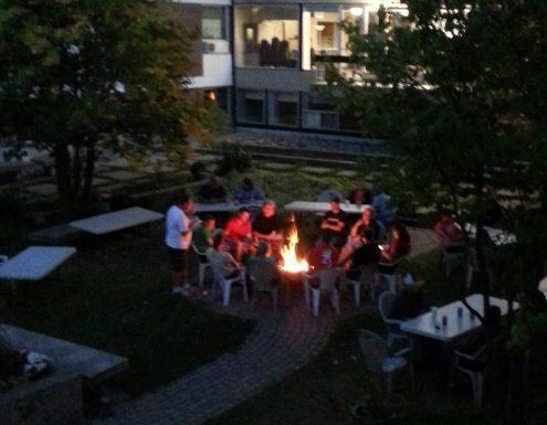 group courtyard fireside at Wilderness Edge
