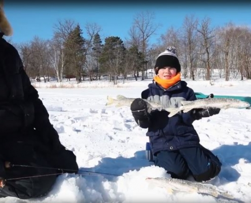 Ice fishing at Wilderness Edge